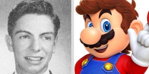 若かりし頃のマリオ・セガールさん(左)と任天堂のキャラクター「マリオ」