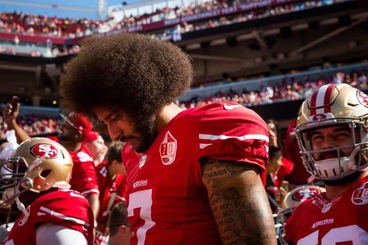 Colin Kaepernick helped launch the take-a-knee protests against police brutality and other racial injustice during the national anthem at NFL games.