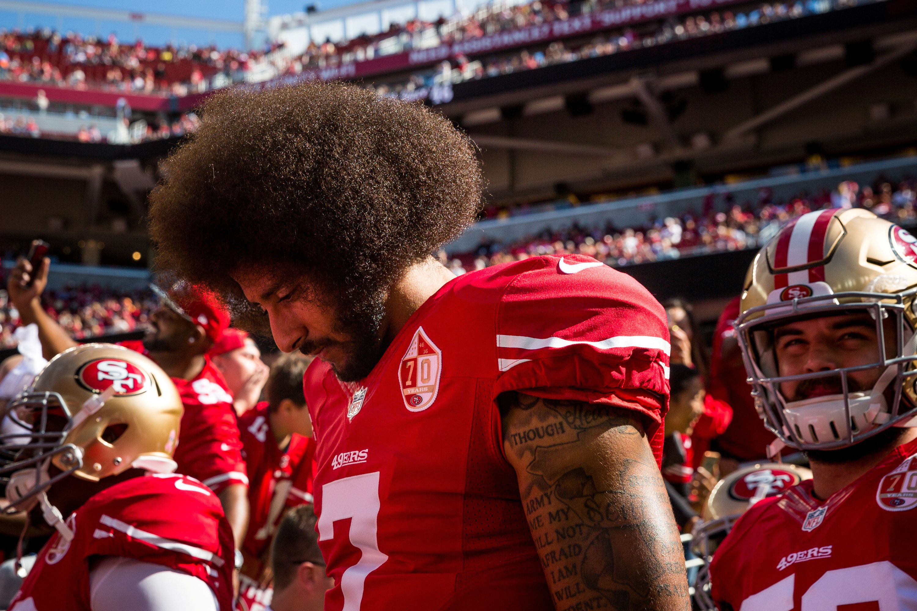 Colin Kaepernick helped launch the take-a-knee protests against police brutality and other racial injustice during