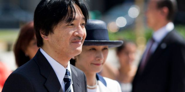 Prince Akishino and his wife Princess Kiko attend a wreath laying ceremony in homage to Argentina's national...