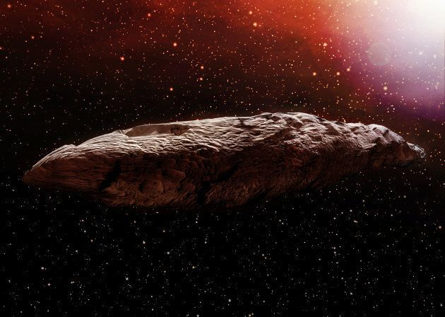 A 3D illustration of the interstellar object known as Oumuamua. Originally classified as an asteroid,...