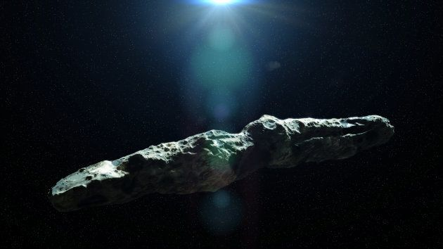 asteroid in deep space lit by a
