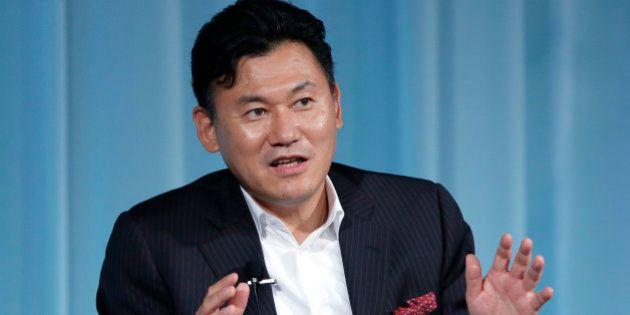 Hiroshi Mikitani, chairman and chief executive officer of Rakuten Inc., speaks at the 15th Nikkei Global...