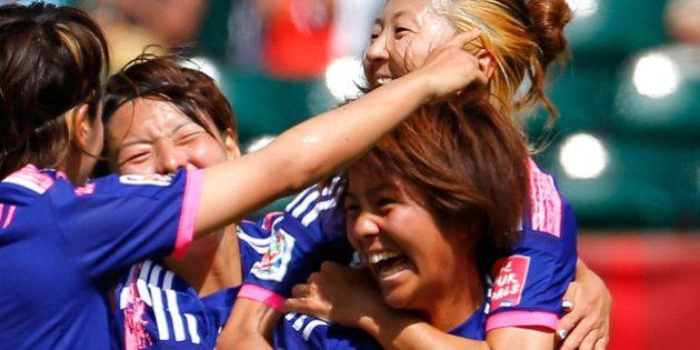 EDMONTON, AB - JUNE 27: Mana Iwabuchi #16 of Japan celebrates scoring a goal against Australia during...