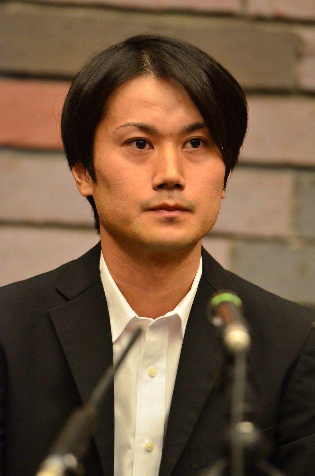 一審判決後の記者会見に臨む増田太輝被告=2017年9月、大阪市北区