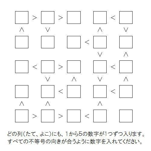 「不等号パズル」をご紹介します (2015年第12回)