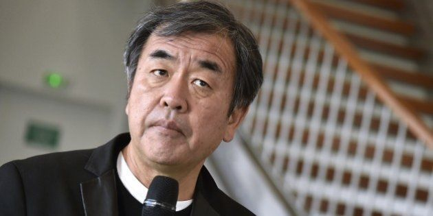 Kengo Kuma, the Japanese architect of the future Saint-Denis Pleyel train station, delivers a press conference...