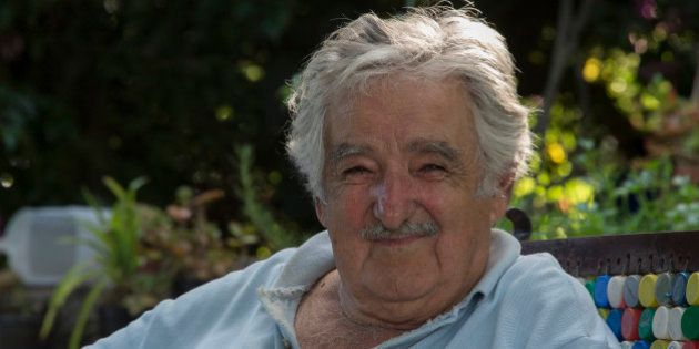 Uruguayan former President and guerrillas Jose Mujica speaks during the shooting of an interview by director...
