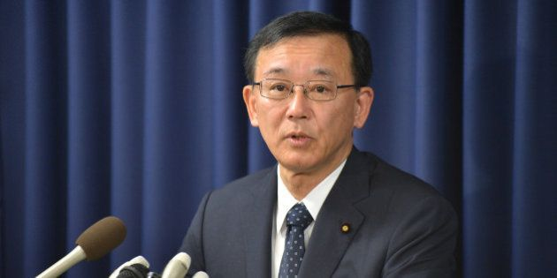 Japanese Justice Minister Sadakazu Tanigaki speaks in a press conference in Tokyo on February 21, 2013....