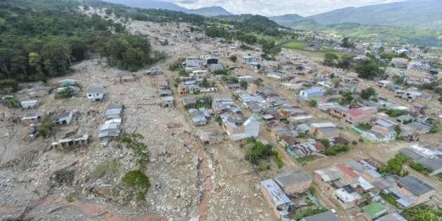 Aerial view of the extensive damage caused by mudslides as a result of heavy rains, in Mocoa, Putumayo...