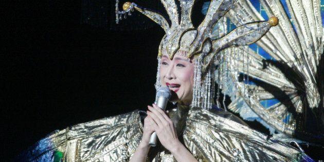 TAIPEI, CHINA - JANUARY 16: (CHINA OUT) Japanese singer Kobayashi Sachiko sings during her concert at...