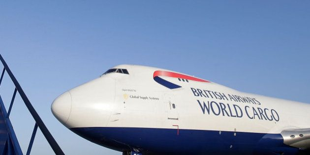 LONDON, ENGLAND - NOVEMBER 14: A British Airways World Cargo Boeing 747, carrying emergency relief supplies...