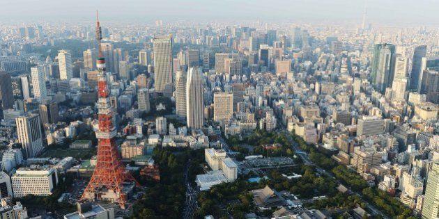 TOKYO, JAPAN - SEPTEMBER 12: Aerial view of the Tokyo Tower on September 12, 2013 in Tokyo, Japan. Tokyo...