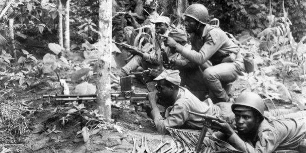 LAGOS, NIGERIA - AUGUEST 16: Biafran National army soldiers prepare to resist a Federal troop attack...
