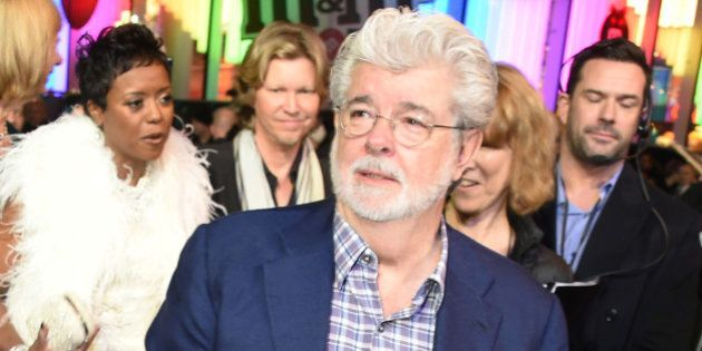 LONDON, ENGLAND - DECEMBER 16: George Lucas attends the European Premiere of 'Star Wars: The Force Awakens'...