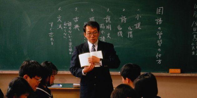 Japan,Tokyo,secondary school, teacher speaking to