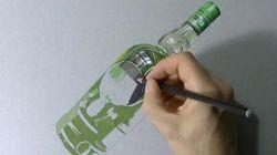 早送りで見る「超リアルな瓶」の描きかたが感動的【動画】