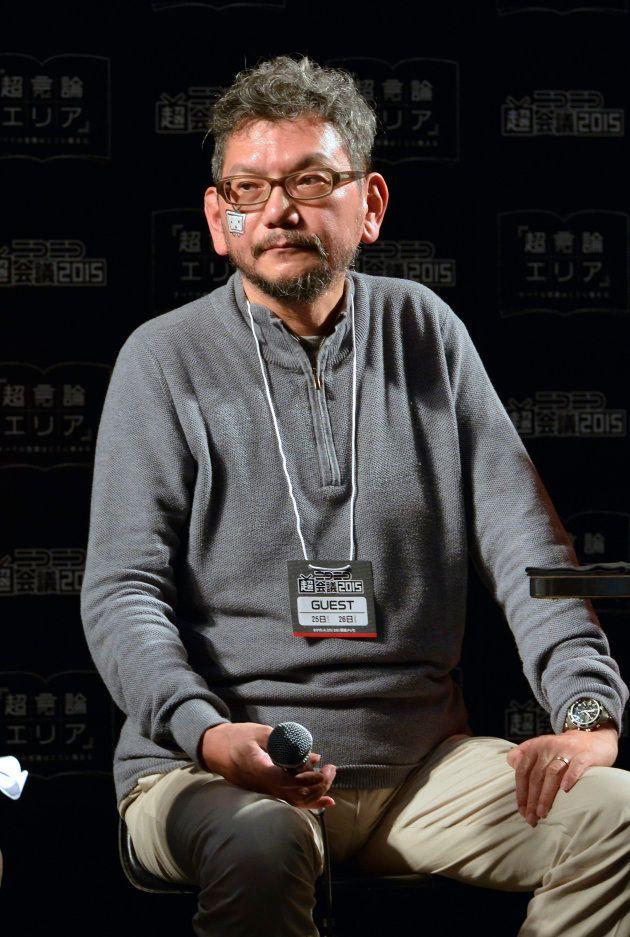動画サービス「niconico」が開催したイベント「ニコニコ超会議2015」で対談する、アニメーターで映画監督の庵野秀明氏(千葉県千葉市の幕張メッセ)