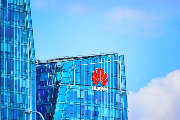 Vilnius, Lithuania - August 8, 2017: Huawei Technologies company headquarter at the modern office building...