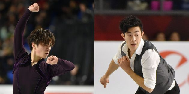男子SPで演技する宇野昌磨(左)とネイサン・チェン