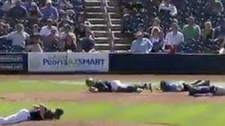 蜂の大群が球場を占拠 選手たちは地面にうつ伏せに(動画)