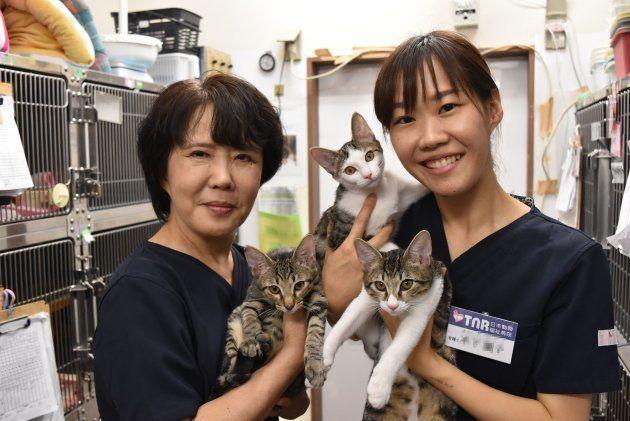 TNR日本動物福祉病院の結昭子さん(左)