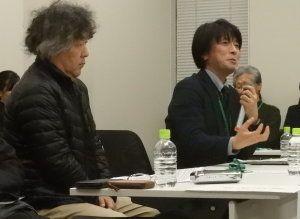 人口知能システムなど、技術的観点から議論を広げる慶応大学理工学部教授の栗原聡氏(右)、左は脳科学者の茂木健一郎氏