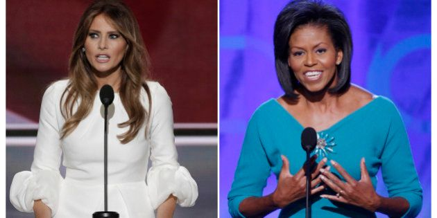 Melania Trump (L), wife of Republican U.S. presidential candidate Donald Trump, speaks at the Republican...