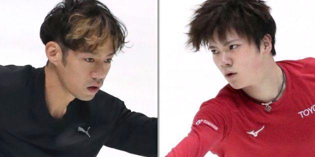高橋大輔選手(左)と宇野昌磨選手