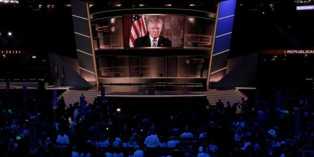 Republican U.S. presidential nominee Donald Trump speaks live via satellite from Trump Tower in New York...