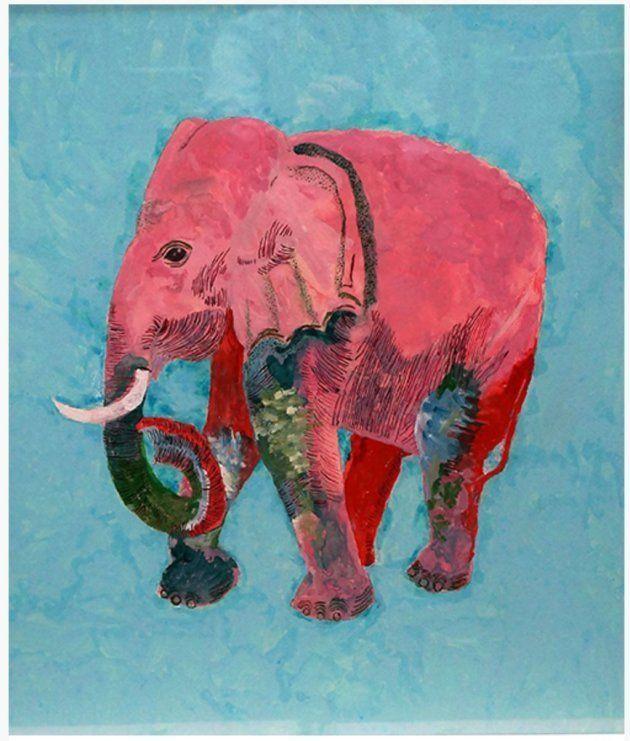 第44回国際美術大賞展で都議会議長賞を受賞したエスパー伊東(本名:伊東万寿男)さんの絵画。