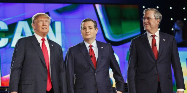 2016 Republican presidential candidates Donald Trump, president and chief executive of Trump Organization...