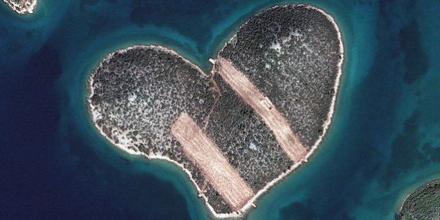 HEART ISLAND, GALESNJAK, CROATIA - FEBRUARY 16, 2013: This is a satellite image of Heart Isalnd, Galesnjak,...