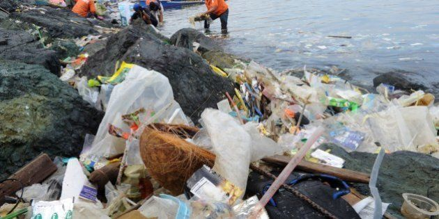 Plastic bags and other rubbish are collected from the waters and shoreline of Manila Bay on July 3, 2014...