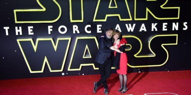 US actor Mark Hamill and his wife Marilou York attend the opening of the European Premiere of 'Star Wars:...