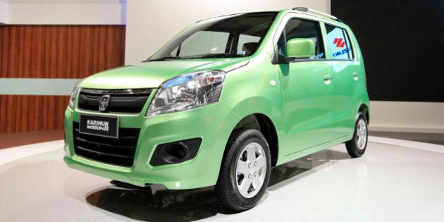 A Suzuki Motor Corp. Karimun Wagon R vehicle is displayed at the Indonesia International Motor Show in...