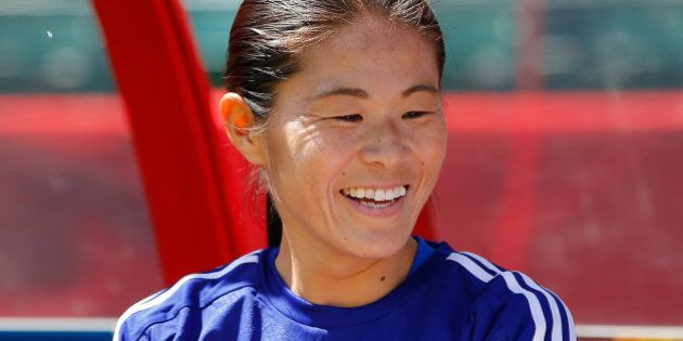 EDMONTON, AB - JUNE 27: Homare Sawa #10 of Japan against Australia prior to the FIFA Women's World Cup...