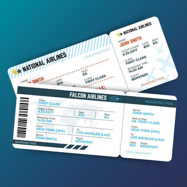 Vector travelling concept with airline boarding pass tickets. Ticket travel to airplane