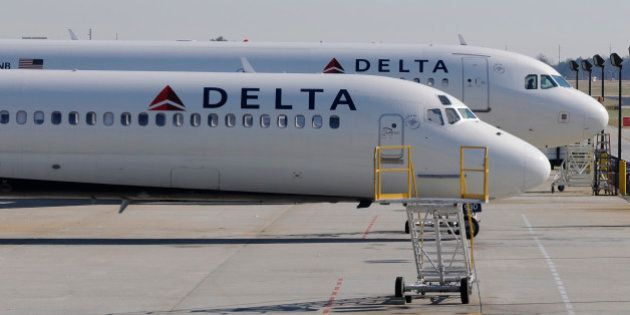 A Delta Airlines MD-88 (foreground) with Airbus A320 (background) at Hartsfield-Jackson International...