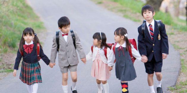 Children in Formal Suit Walking Together, Holding