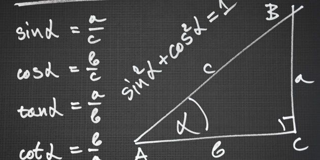 Sketch of a right triangle and definition of the basic trigonometric