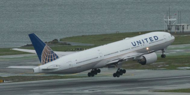 A United Airlines Boeing 777 takes off at San Francisco International Airport's runway 10L. (Photo by...