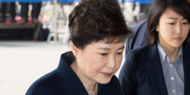 Former South Korean President Park Geun-hye arrives at the prosecutors office in Seoul, South Korea,...
