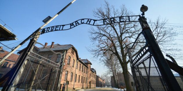 A view of the main entrance to Auschwitz camp pictured on the day of the 72nd anniversary of liberation...