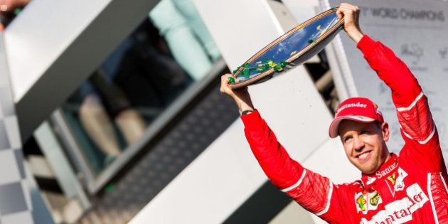 MELBOURNE, AUSTRALIA - MARCH 26: Sebastian Vettel of Ferrari and Germany during the Australian Formula...