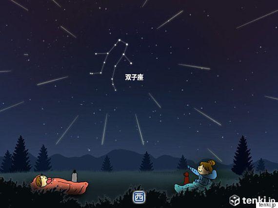 ふたご座流星群 14日深夜から見頃