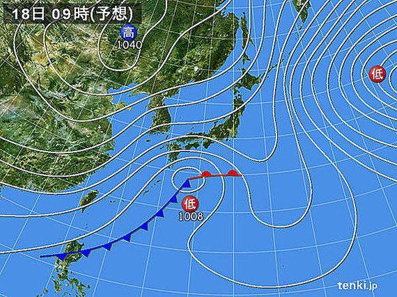 18日 関東付近で雪の降る所は(望月圭子)