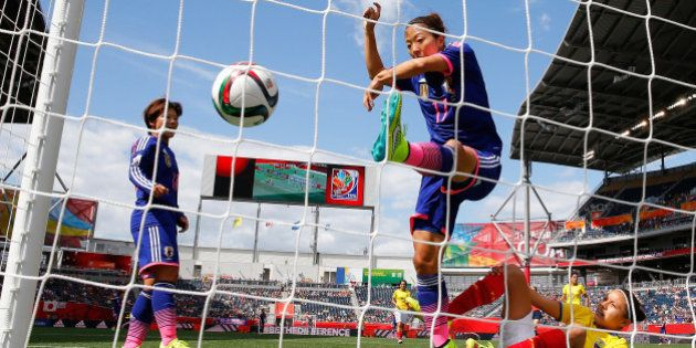 WINNIPEG, MB - JUNE 16: Yuki Ogimi #17 of Japan scores the first goal against Angie Ponce #6 of Ecuador...
