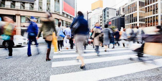 Ginza Shopping District Rushing Pedestrians Tokyo