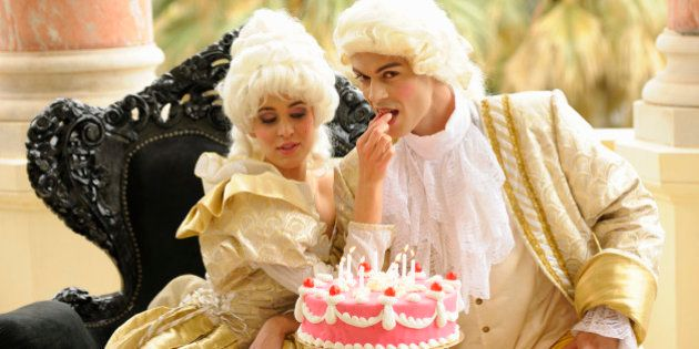 Marie Antoinette feeding her king with her birthday
